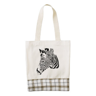 Black White Zebra Stripes Animal Print Zazzle HEART Tote Bag