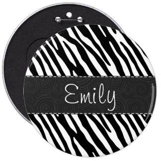 Black White Zebra Stripes Buttons