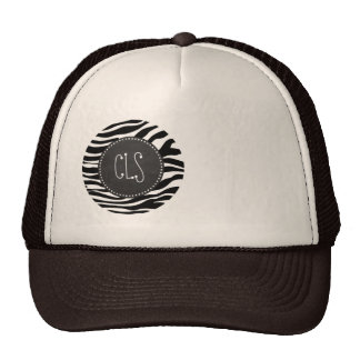Black & White Zebra Stripes; Chalkboard Trucker Hat
