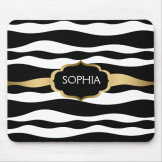 Black & White Zebra Stripes Gold Accents Mouse Pad