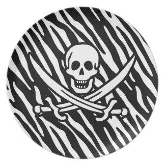 Black & White Zebra Stripes Jolly Roger Pirate Party Plate