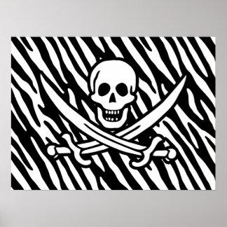 Black & White Zebra Stripes Jolly Roger Pirate Print