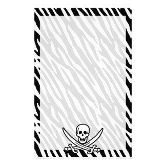 Black White Zebra Stripes Jolly Roger Pirate Customized Stationery