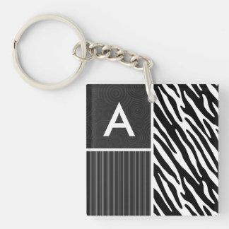 Black & White Zebra Stripes Key Chains