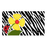 Black & White Zebra Stripes; Ladybugs Business Card Template