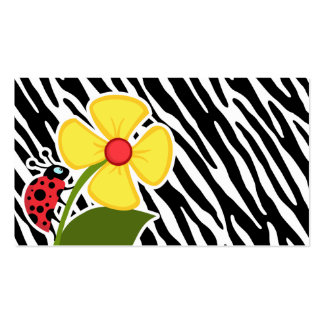 Black White Zebra Stripes Ladybugs Business Card Template