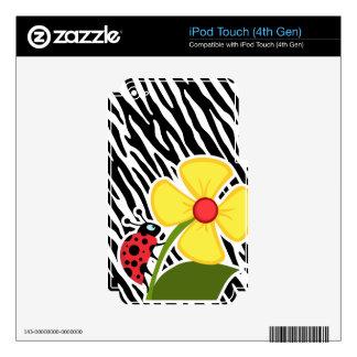 Black & White Zebra Stripes; Ladybugs iPod Touch 4G Skins