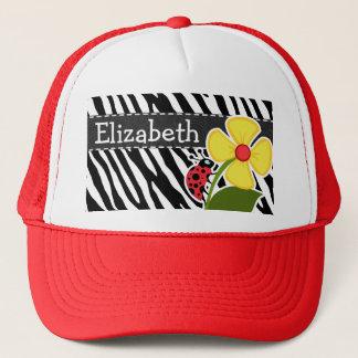 Black & White Zebra Stripes; Ladybugs Trucker Hat