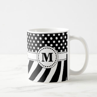 Black & White Zebra Stripes & Polka Dots Monogram Coffee Mug