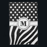 "Black &amp; White Zebra Stripes &amp; Polka Dots Monogram Hand Towel<br><div class=""desc"">(Design &#169; 2014 Deborah Dalio) – Monogram Collection – Make a fashion statement with this chic hand towel which features a black and white zebra stripes and polka dots design topped by a white band and circle containing a customizable initial. You can remove the initial and circle and customize the...</div>"