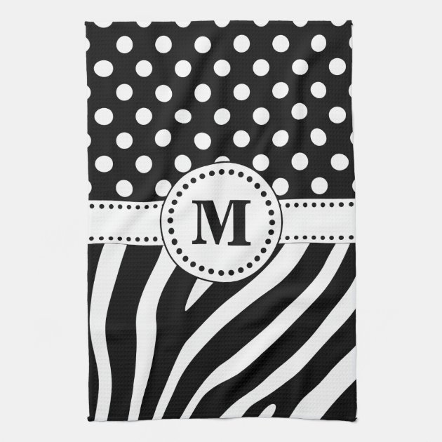 Studio Dalio - Black and White Zebra Stripes and Polka Dots Monogrammed Hand Towel