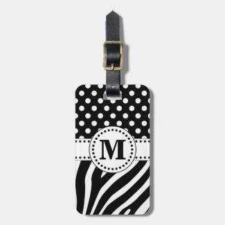 Black & White Zebra Stripes & Polka Dots Monogram