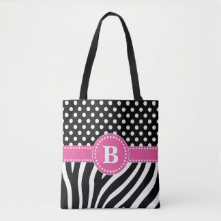 Black & White Zebra Stripes & Polka Dots with Pink Tote Bag