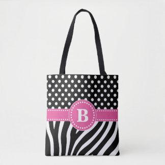 Black & White Zebra Stripes & Polka Dots with Pink Tote Bag