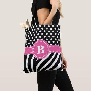 befc41d4cab5 Black & White Zebra Stripes & Polka Dots with Pink Tote Bag