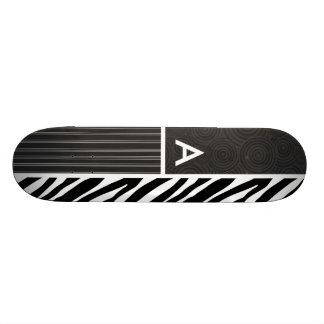 Black & White Zebra Stripes Skate Board Deck