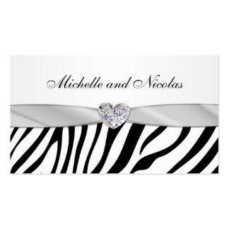 Black & white zebra stripes Wedding  Business Card
