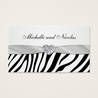 Black & white zebra stripes Wedding  Business Card