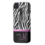 Black & White Zebra stripes with Black damask Case-Mate iPhone 4 Cases