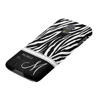 Black & White Zebra stripes with Black damask Galaxy S5 Cases
