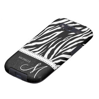 Black & White Zebra stripes with Black damask Galaxy S3 Cover