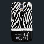 "Black &amp; White Zebra stripes with Black damask Galaxy S4 Cover<br><div class=""desc"">Elegant Black / White Zebra Pattern on black damask with personalized monogram.  Add your name and initial.</div>"