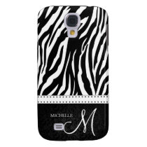 Black & White Zebra stripes with Black damask Galaxy S4 Cover