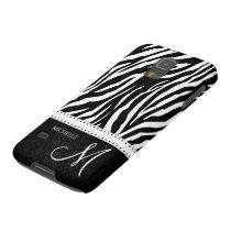 Black & White Zebra stripes with Black damask Galaxy S5 Case