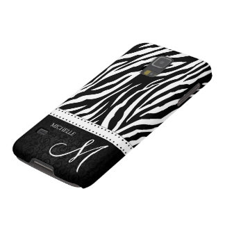 Black & White Zebra stripes with Black damask Galaxy S5 Case