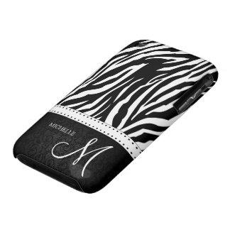 Black & White Zebra stripes with Black damask iPhone 3 Case-Mate Case