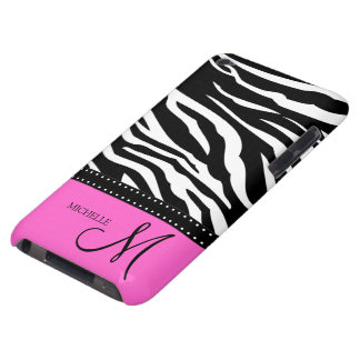 Black & White Zebra stripes with hot pink Barely There iPod Cover