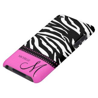Black & White Zebra stripes with hot pink iPod Case-Mate Case