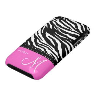 Black & White Zebra stripes with hot pink iPhone 3 Case-Mate Case