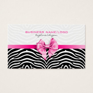 Black & White Zebra Stripes With Pink Bow 2 Business Card