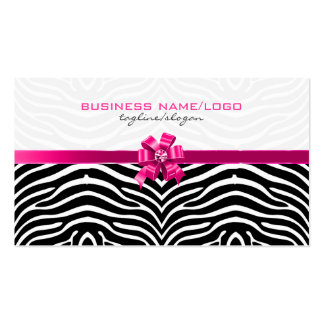Black & White Zebra Stripes With Pink Bow Business Card