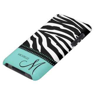 Black White Zebra stripes with teal blue Barely There iPod Cases