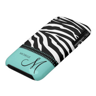 Black & White Zebra stripes with teal blue Case-Mate iPhone 3 Case