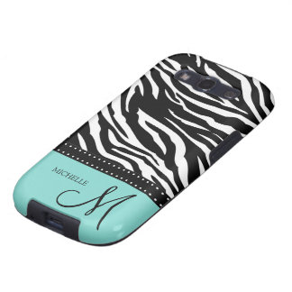 Black & White Zebra stripes with teal blue Galaxy S3 Cover