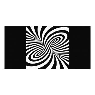 BLACK WHITE ZEBRA SWIRLS PATTERNS OPTICAL ILLUSION PERSONALIZED PHOTO CARD
