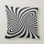 BLACK WHITE ZEBRA SWIRLS PATTERNS OPTICAL ILLUSION PILLOW