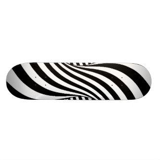 BLACK WHITE ZEBRA SWIRLS PATTERNS OPTICAL ILLUSION SKATEBOARD DECK