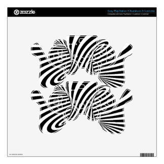 BLACK WHITE ZEBRA SWIRLS PATTERNS OPTICAL ILLUSION SKINS FOR PS3 CONTROLLERS