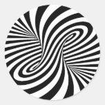 BLACK WHITE ZEBRA SWIRLS PATTERNS OPTICAL ILLUSION ROUND STICKER