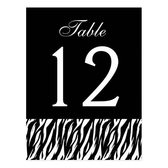 Black White Zebra Table Number Part of Set of 12 Postcard