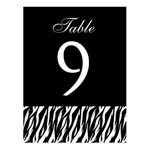 Black White Zebra Table Number Part of Set of 12 Post Cards