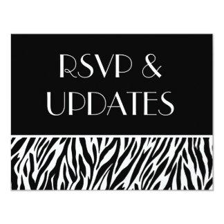 "Black White Zebra Website RSVP and Info Cards 4.25"" X 5.5"" Invitation Card"