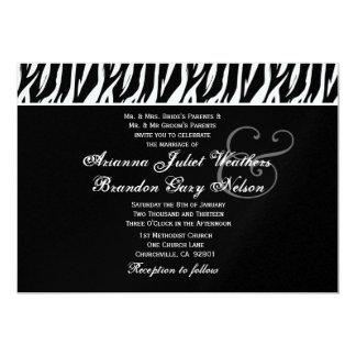 Black White Zebra Wedding Horizontal Template 5x7 Paper Invitation Card