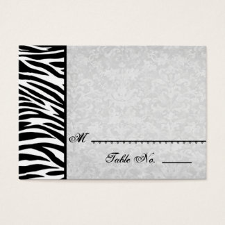 Black White Zebra with Grunge Damask Place Cards