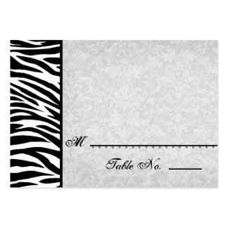 Black White Zebra with Grunge Damask Place Cards Large Business Cards (Pack Of 100)