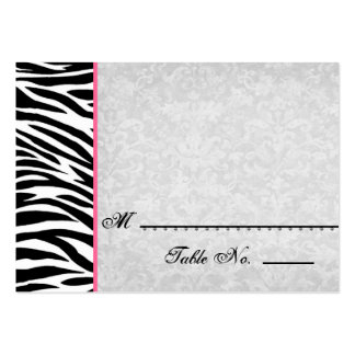 Black White Zebra with Grunge Damask Place Cards Large Business Card